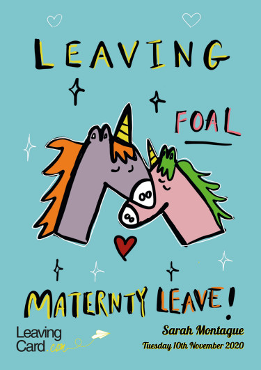 A maternity card featuring a mummy horse and baby foal