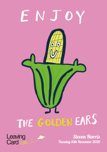 A retirement card showing a golden ear of corn about to retire after working hard