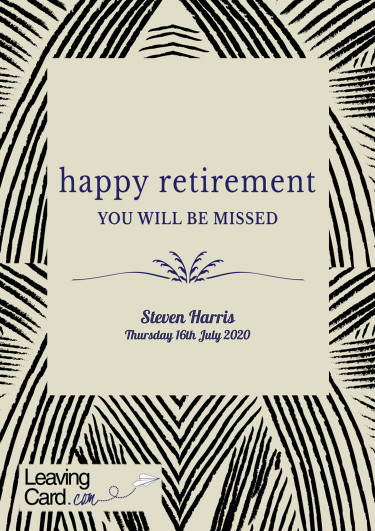 A retirement card featuring a modern patterned background