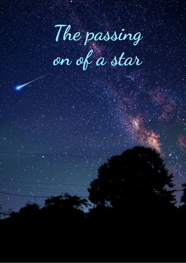 A condolence card with a starry sky