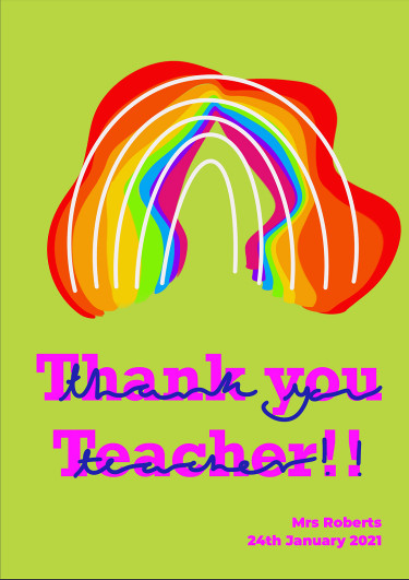 A thank you teacher card with a vibrant pattern