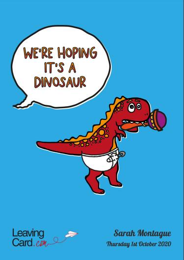 A maternity card with a dinosaur