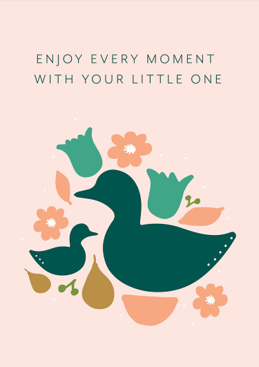 A new baby card with green ducks