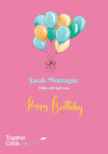 A birthday card showing balloons
