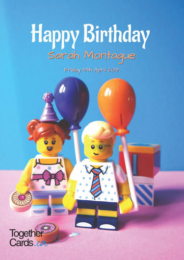A birthday card showing two lego people saying happy birthday