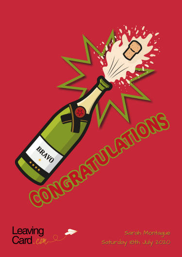 A congratulations card showing a bottle of champagne with the cork popping