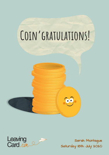 A congratulations card showing a set of coins all stacked up