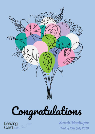 A congratulations card showing a bunch of flowers
