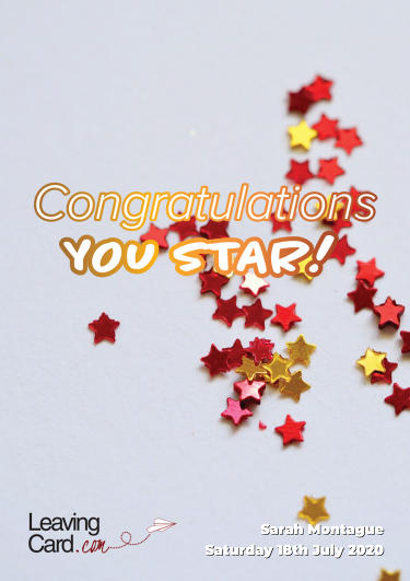 A congratulations card showing lots of glittery paper stars