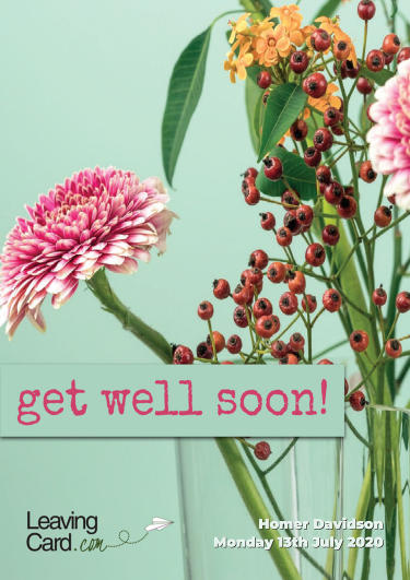 A get well soon card showing a floral pattern