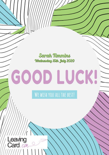 A good luck card featuring a colourful pattern
