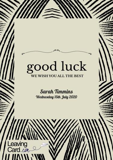 A good luck card showing a modern stripy pattern