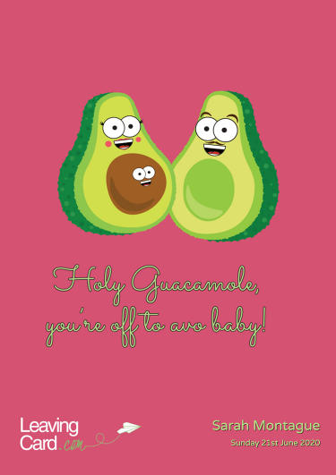 A maternity card showing two avocados
