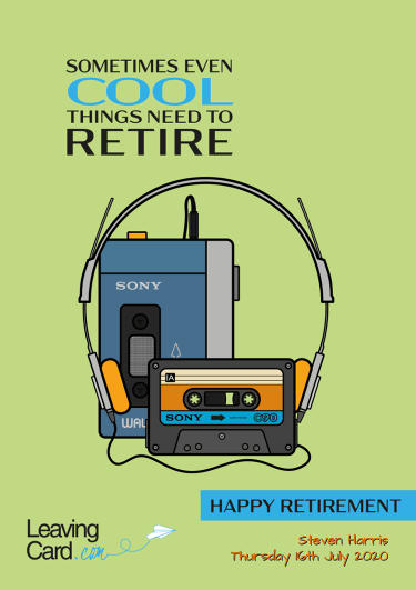 A retirement card showing a green walkman