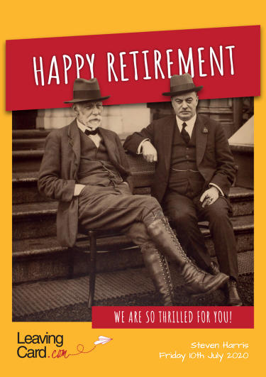 A retirement card showing two grump old men