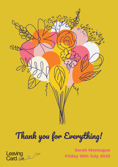 A thank you card showing a bunch of flowers