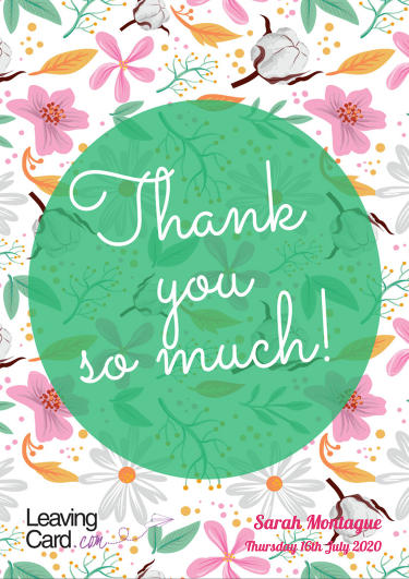 A thank you card showing a floral pattern